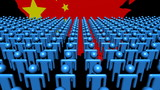 China map flag with foreground of many abstract people animation