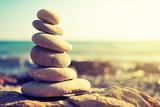 Fototapety concept of balance and harmony. rocks on the coast of the Sea