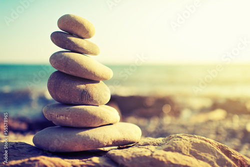 concept of balance and harmony. rocks on the coast of the Sea
