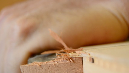 Luthier working with a chisel in close up
