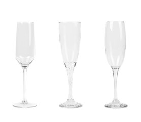 Three different tall wineglasses.