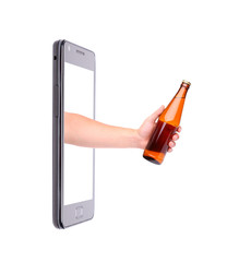 Hand with bottle of beer climbs from phone.