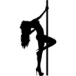 vector silhouette of a stripper - 55579746
