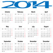 Vector illustration of calendar 2014.