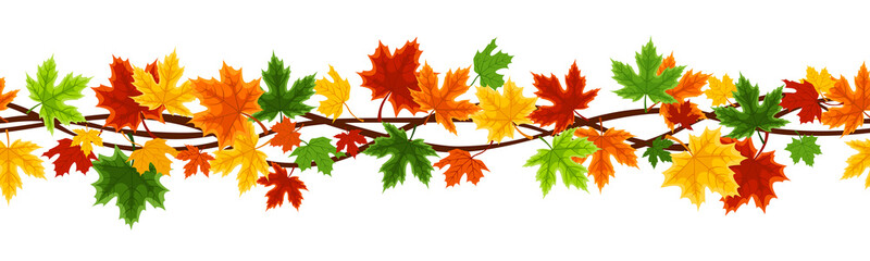 Horizontal seamless background with autumn maple leaves.