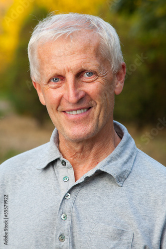 Closeup portrait of happy face of old man