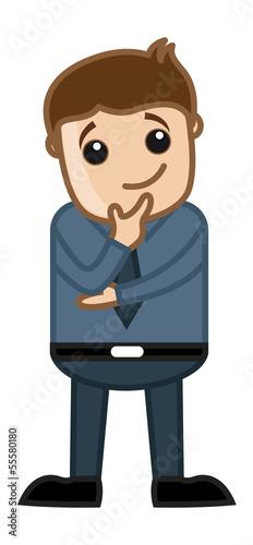 Man Thinking on a New Idea and Plan - Office Cartoon