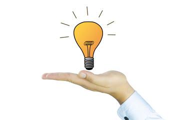 tungsten lamp on human hand