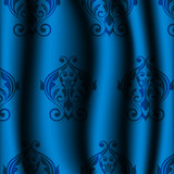 Vector illustration of blue material with vintage pattern