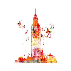 Colorful Big Ben vector design.