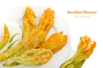 Fried zucchini flowers isolated