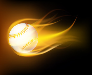 Baseball ball in flames