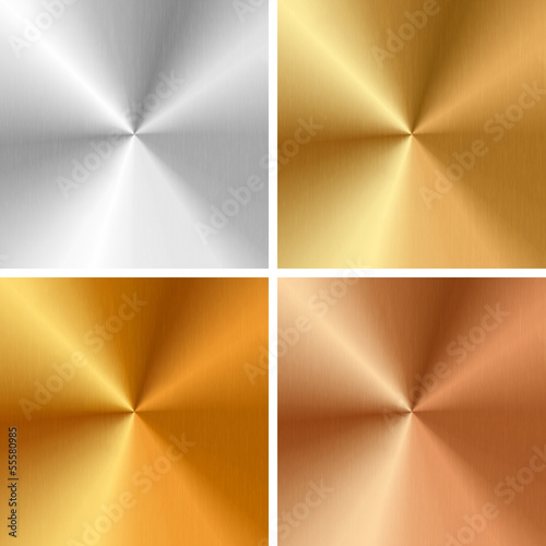 Vector metal textures - silver, gold, antique gold, bronze
