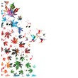 Colorful vector maple leafs with hummingbirds background.
