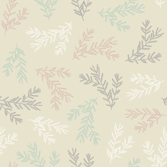 Seamless pattern with fir branches