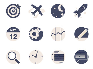 Rounded  Flat Icons for Web and Mobile Applications