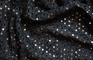 Black fabric with sequins