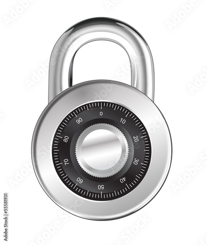 Realistic Padlock Illustration. Closed lock security icon