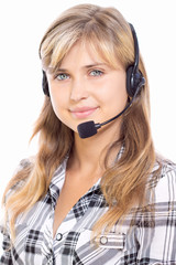girl operator in headphones communicate with customers