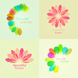 set of vector flower icons