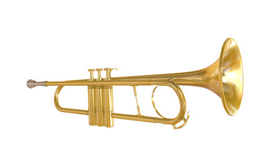 Gold Trumpet Isolated