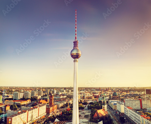 canvas print picture Tv tower or Fersehturm in Berlin, Germany