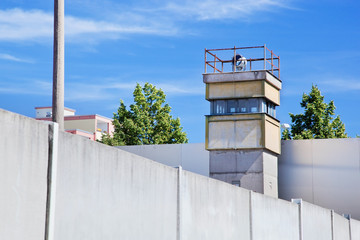 Berlin Wall Memorial, a watchtower in the inner area.