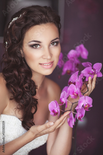 Beautiful bride in wedding day In bridal dress. newlywed woman