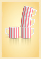 Coffee cups in retro style