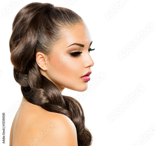 Hair Braid. Beautiful Woman with Healthy Long Hair Poster