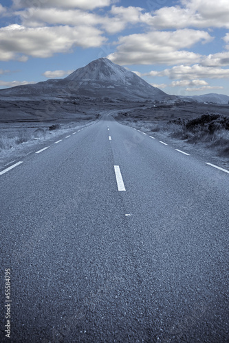 blue toned road to the Errigal mountains