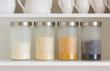 glass jars with grain
