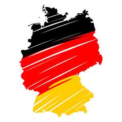 deutschlandkarte schraffiert schwarz-rot-gold I