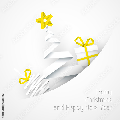 Simple vector white christmas card illustration