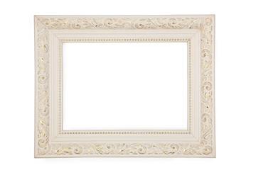 White frame with gold pattern
