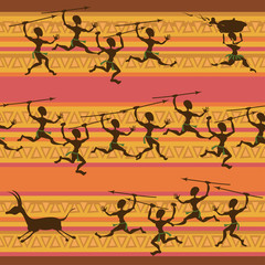 Comic seamless pattern of hunting aborigines