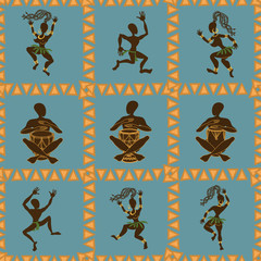 Seamless pattern of dancing African aborigines
