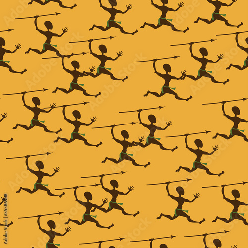 Seamless pattern of hunting aborigines