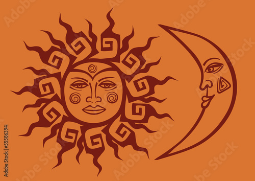 Icon of tribal sun and crescent moon