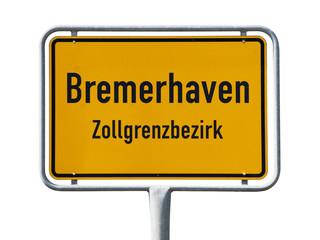 Ortsschild Bremerhaven isoliert