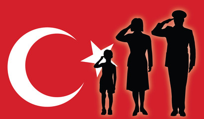 Turkey soldier family salut