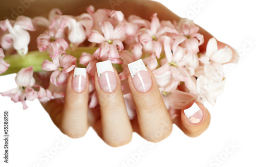 Fingernägel mit rosa Hyazinthe Poster