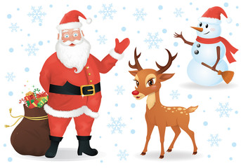 Santa, a deer and a snowman isolated on white.