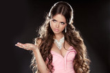 Long Hair. Fashion Beautiful Girl Model with Jewelry isolated on