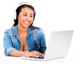 Woman downloading music