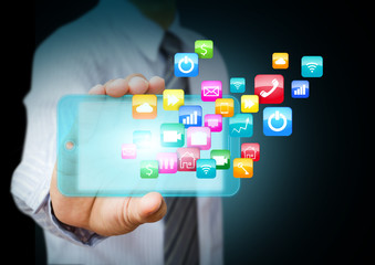 Smart phone with cloud of colorful application icons