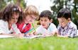 Happy school kids coloring