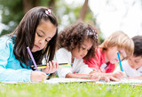 Group of children coloring