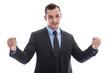 Jubelnder lachender Geschäftsführer isoliert im Anzug