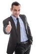 Erfolgreicher Unternehmer oder Manager mit Daumen isoliert